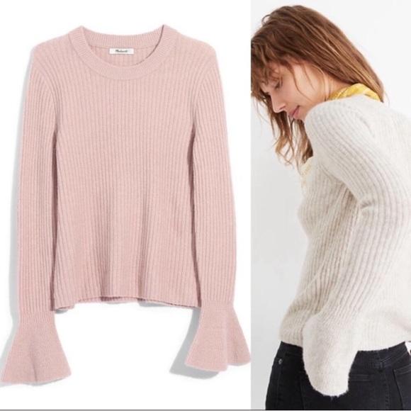 Madewell ruffle cuff pullover sweater NWT
